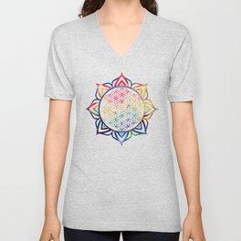 Rainbow Lotus Flower of Life Mandala Unisex V-Neck