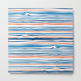 Modern Abstract Ocean Wave Stripes in Classic Blues and Orange Metal Print
