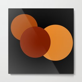 Orange Brown Mod Circles Metal Print