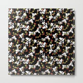 Dark Chinoiserie Floral Collage Pattern Metal Print