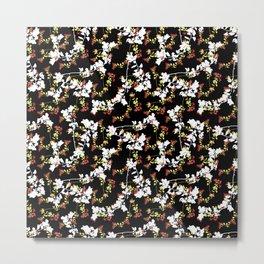 Dark Chinoiserie Floral Collage Pattern Metal Print