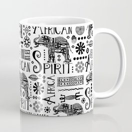 Africa Style Elephant Black And White Tribal Pattern Coffee Mug