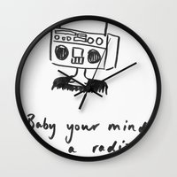 radiohead Wall Clocks featuring Radiohead by sharon