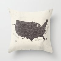 usa Throw Pillows featuring USA by Mike Koubou