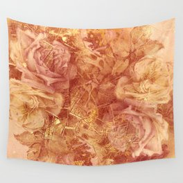 roses and gold Wall Tapestry