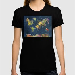 World Map blue splash T-shirt