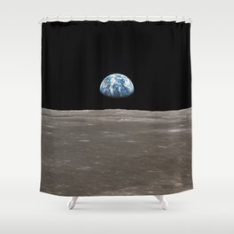 Earthrise Over Moon Apollo 11 Mission Shower Curtain