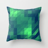seahawks Throw Pillows featuring Polygon Nine by Jambot