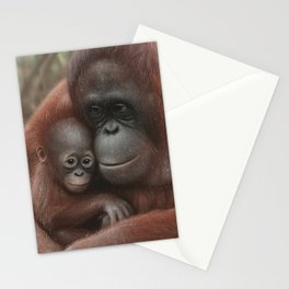 Orangutan Mother and Baby - Snuggled Stationery Cards