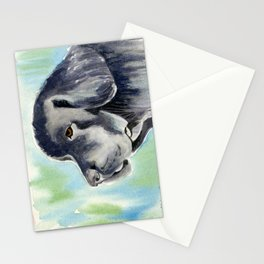 Newfoundland Dog Watercolor Painting Stationery Cards