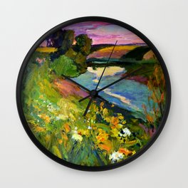 Evening on the river Wall Clock