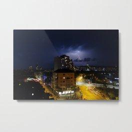 Lightning over Zurich Metal Print