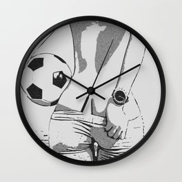 Let's play soccer, football. Kinky sporty girl rear view, naughty pants slip, sexy booty Wall Clock