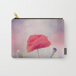 Poppy flower blooming on purple background Carry-All Pouch
