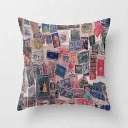 20th Century through stamps Throw Pillow