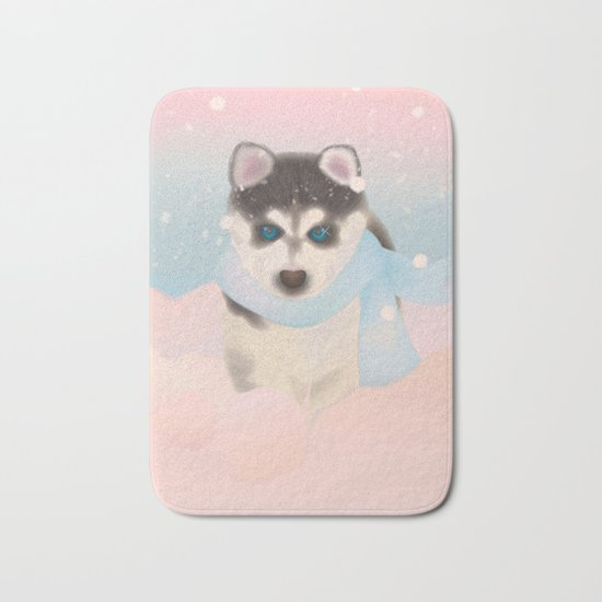 Husky Puppy in Snow Bath Mat