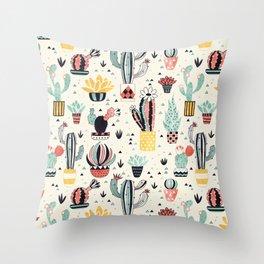 Cacti in a Flower Pot Throw Pillow