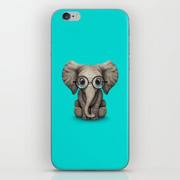 Cute Baby Elephant Calf with Reading Glasses on Blue iPhone Skin