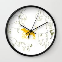 dogs Wall Clocks featuring DOGS by Sara Stefanini
