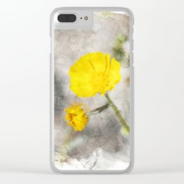 Lemon Yellow Brittle Bush in Digital Watercolor Clear iPhone Case