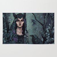 maleficent Area & Throw Rugs featuring Maleficent by Angela Rizza