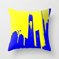 metropolis Throw Pillows featuring Metropolis by osile ignacio