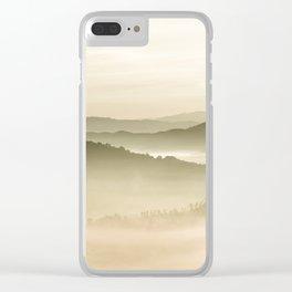 Pastel Blue Green Sepia Sunset Mountains layered parallax Landscape Minimalist Landscape Clear iPhone Case