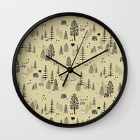 forrest Wall Clocks featuring Forrest Pattern by Mai Ly Degnan