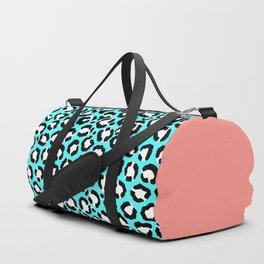 Artsy Modern Cyan Blue Leopard Animal Print Duffle Bag