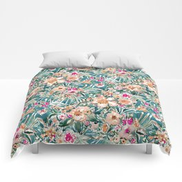 TROPICAL TUMBLE Colorful Paradise Floral Comforters