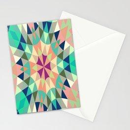 Retro Geometry Mandala Deep Pastels Stationery Cards