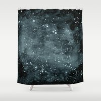 night sky Shower Curtains featuring Night Sky by Zeryndipity