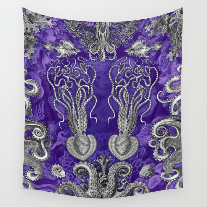 The Kraken (Purple - No Text) Wall Tapestry
