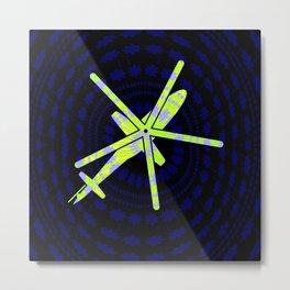Neon Pop Helicopter Metal Print