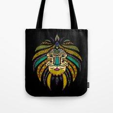 Tribal Lion on Black Tote Bag