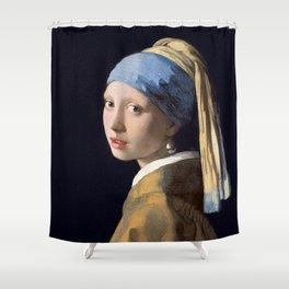 GIRL WITH A PEARL EARRING - JOHANNES VERMEER Shower Curtain