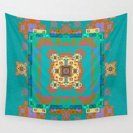 Turquoise Persian Rug Deconstruction Mandala Wall Tapestry