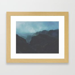 MIsty Cliffs Bluffs Blue Hues Minimalist Dark Landscape Framed Art Print