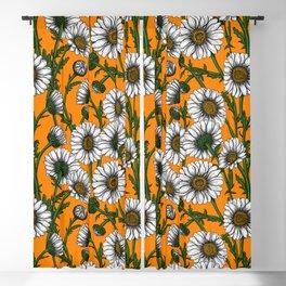 Daisies on orange Blackout Curtain