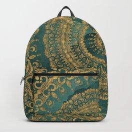 Emerald Green and Gold Mandala Backpack