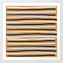 Brown Lines Pattern Art Print