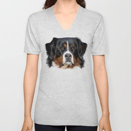 BERNESE MOUNTAIN DOG ART Unisex V-Neck