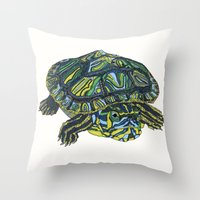 turtle Throw Pillows featuring Turtle by Aina Serratosa