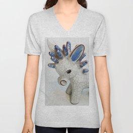 Modern Donkey Illustration with blue hair Unisex V-Neck