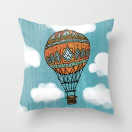 Hot Air Ballon in the Sky Throw Pillow