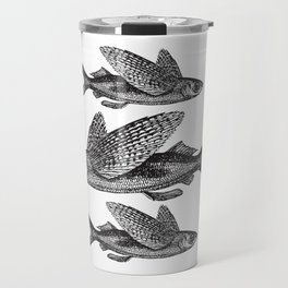 Flying Fish | Black and White Travel Mug