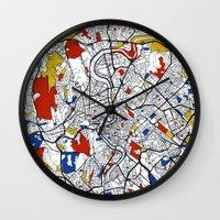 rome Wall Clocks featuring Rome by Mondrian Maps