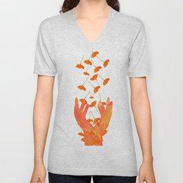 Wonderful Poppy Flowers Orange Coral Color White Background #decor #sociey6 #buyart Unisex V-Neck