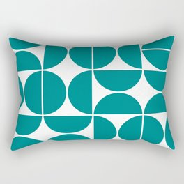 Mid Century Modern Geometric 04 Teal Rectangular Pillow