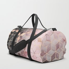 Pink And Grey Gradient Cubes Duffle Bag